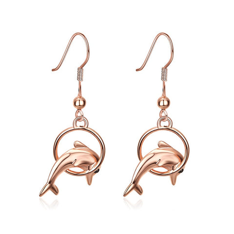 cute gold color dolphin jumping hoop drop earrings for women