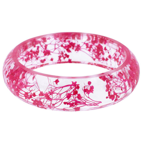 trendy dried flower transparent resin bangle bracelet for women