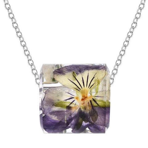 trendy transparent resin dried daisy flower pendant necklace
