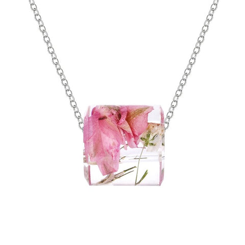 romantic resin dry flower daisy pendant necklace for women