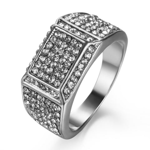 luxury full cz crystal rectangle geometric ring for men