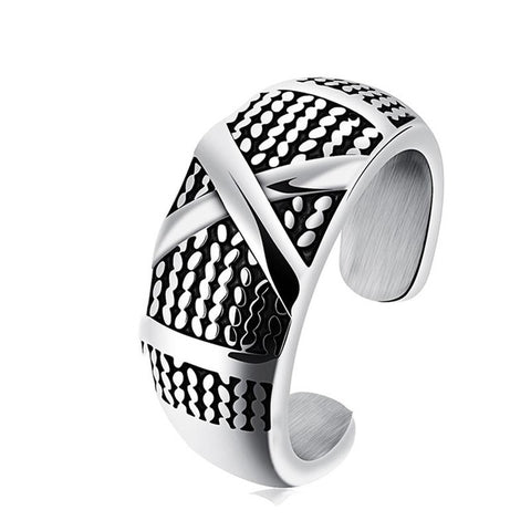 cool silver color biker cross stainless steel open ring