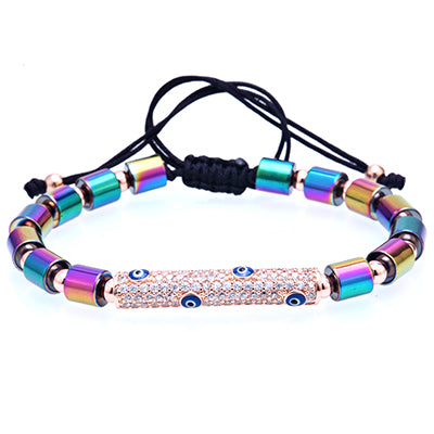 trendy steel beads & inlaid zircon charm adjustable bracelet