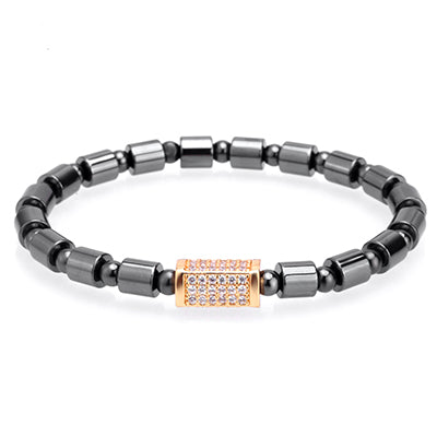 cool geometric zircon charm titanium beads bracelet for men