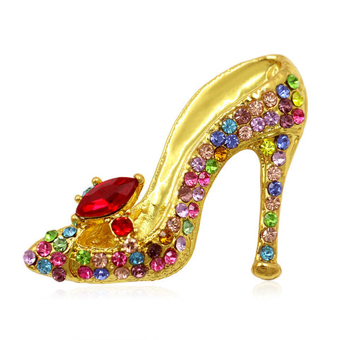 multicolor crystal rhinestone high heel shoes brooch pins for women