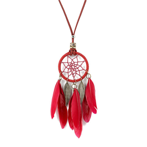 dream catcher feather tassel necklace & pendant for women