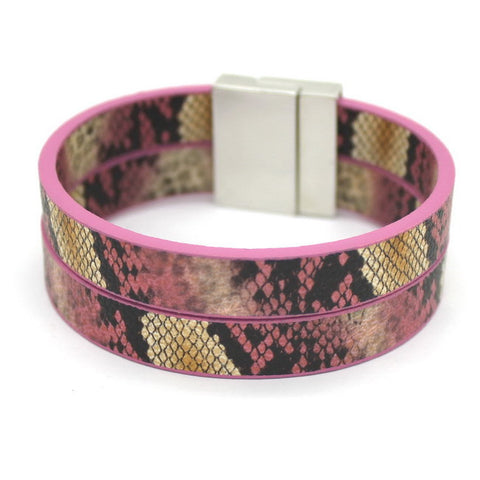trendy snake leather printing cuff bracelet for women