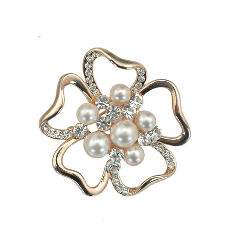 trendy golden rose crystal & pearl flower hollow brooch jewelry