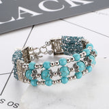 bohemian multilayer natural stone crystal beads bracelet for women