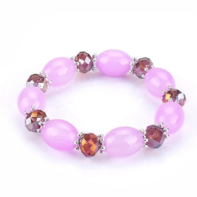 simple oval shaped beads strand bracelet for women