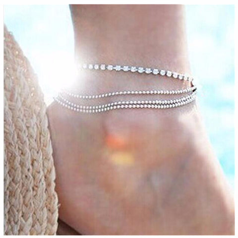 trendy silver plated beads multilayer crystal anklet for women