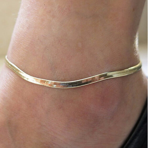 trendy gold color snake chain anklet for women