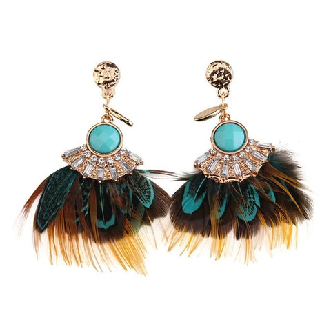 bohemian colorful resin & feather tassel earrings for women