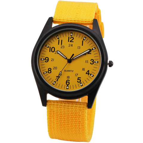 sport style dial canvas band analog quartz wrist watch