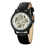 trendy skeleton automatic mechanical leather strap watch