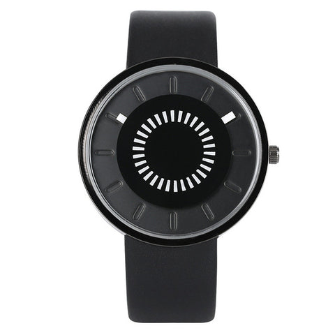 trendy minimal black round face dial quartz wrist watch