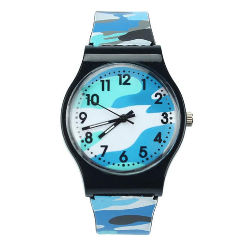 trendy camouflage design silicone band quartz wrist watch