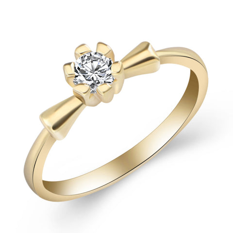 elegant cubic zirconia crystal rose gold color ring for women