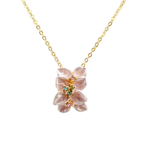romantic cubic zircon flower pendant necklace for women
