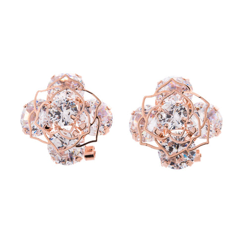 luxury flower shape gold color crystal stud earrings for women