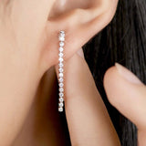classic design silver color cubic zircon stud earrings for women