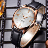 elegant roman letters leather strap quartz watch for women