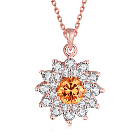 gold color cubic zircon flower necklace & pendant for women