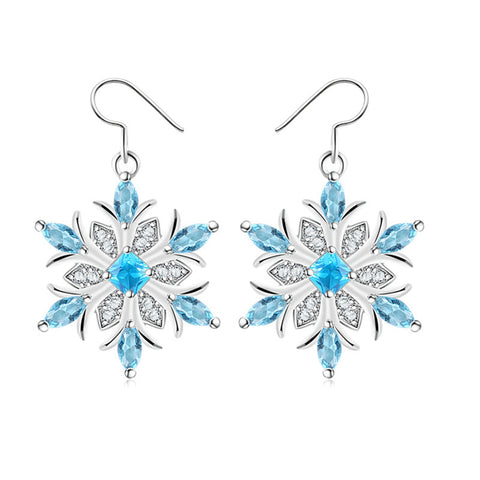 luxury two tone snowflake cubic zircon stud earrings for women