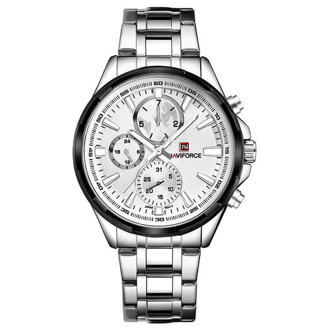 luxury chronograph dial stainless steel band quartz watch for men