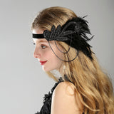 vintage rhinestone beaded sequin feather hair band for women