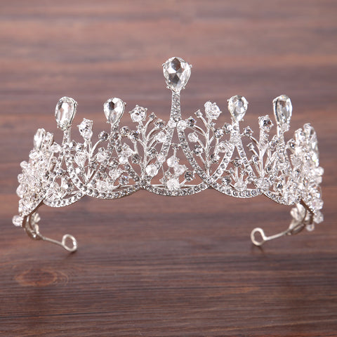 vintage style silver color crystal tiara hair jewelry for women