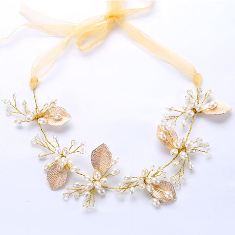 romantic leaf & flower simulated pearl hair band tiara for women