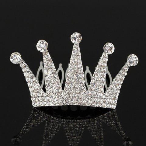 silver plated crown design crystal hair comb for women