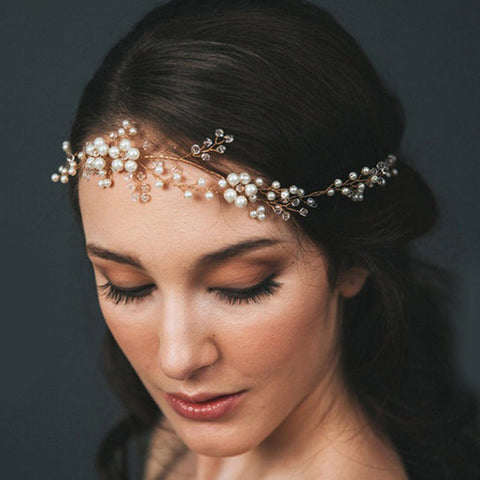 romantic handmade Imitation Pearl floral hair band for women