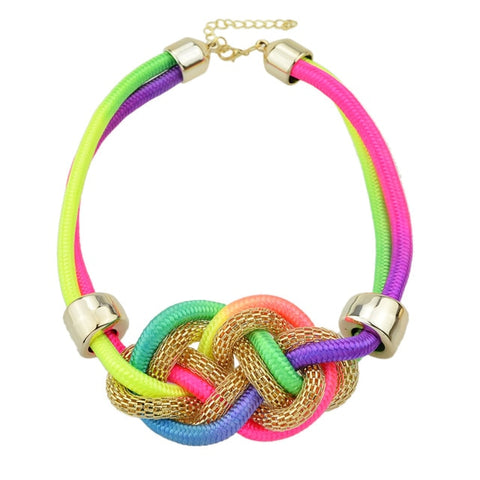 cute colorful braided rope chain statement necklace for women