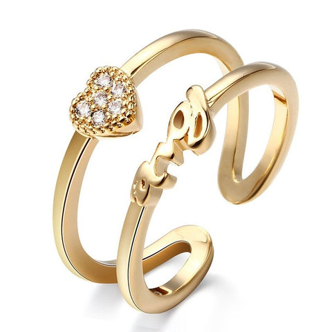 trendy double circle heart & love letter open ring for women