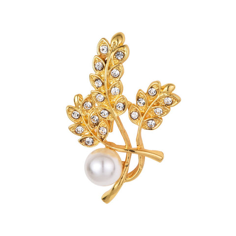trendy crystal leaves with imitation pearl brooch pin for women