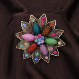 vintage multi color acrylic flower brooch pin for women