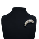 elegant simulated pearl feather shape brooch for women