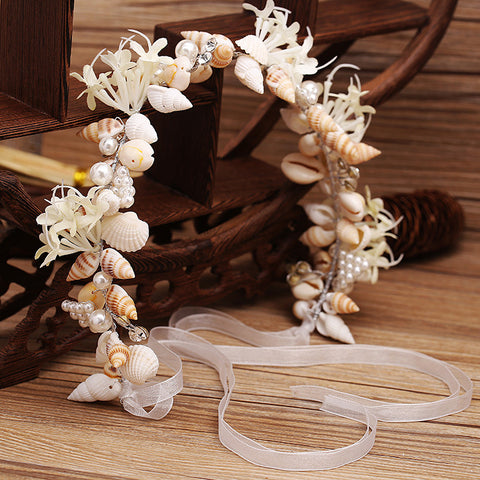 cute handmade pearl & conch shell hair band for women