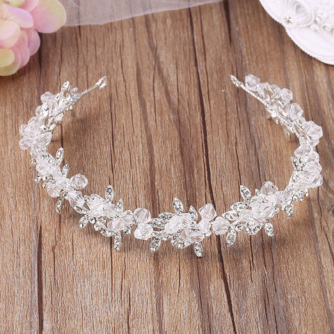luxury silver color crystal beaded pearl hair band tiara for women