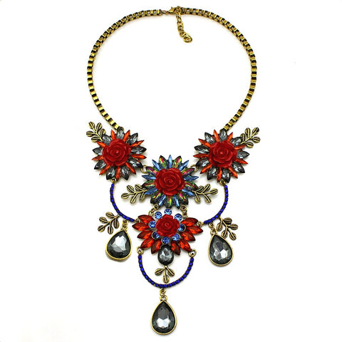 vintage crystal flowers choker statement necklace for women