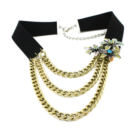 punk multi chain & flowers tassel statement necklace for women