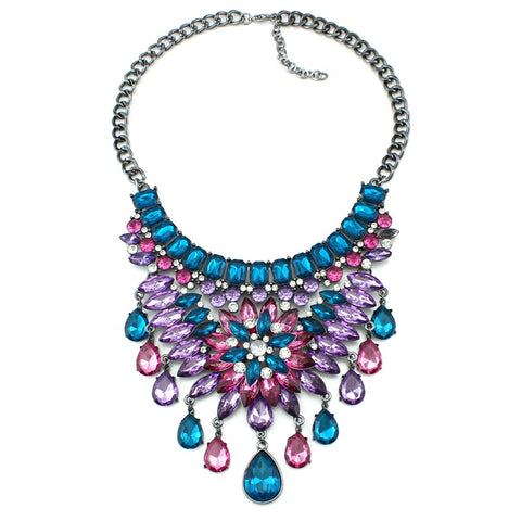 luxury crystal pendant statement necklace for women