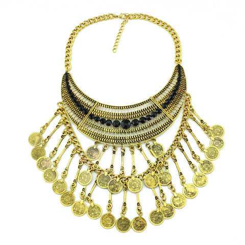 ethnic metal coin tassel collar statement necklace for women