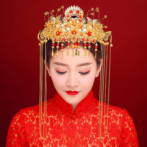 chinese style red beads tassel hair sticks for women