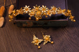 ethnic chinese traditional gold color tiara hair set for women