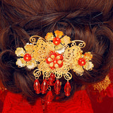 chinese red rhinestone flower tassel hair sticks set for women