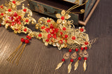 chinese red beads gold color wedding hair combs for women