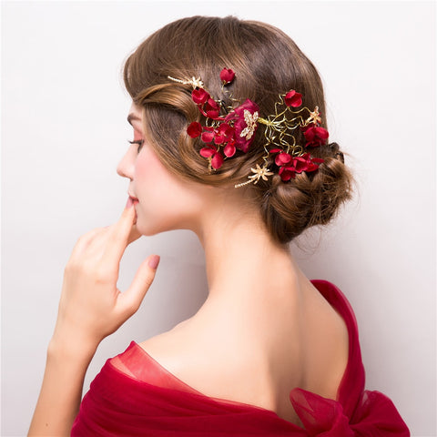 romantic red & gold fabric flower ornament hair band tiara
